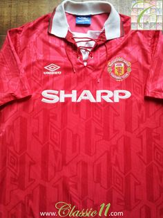 7af49012e Relive Manchester United s 1992 1993 season with this vintage Umbro home football  shirt. Manchester