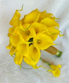 Yellow Calla lily wedding bouquet simple by ChurchMouseCreations, $75.00