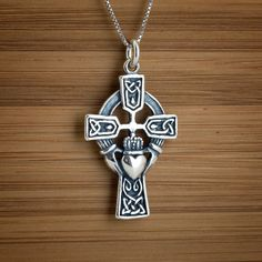 Celtic Claddagh Cross  STERLING SILVER by LittleDevilDesigns