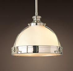 "Clemson Classic Pendant. Restoration Hardware. Polished Nickel. $379. 14"" w x 11 1/2 "" h."