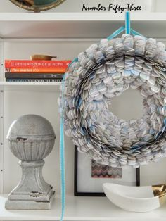 Make an easy paper wreath using an old street atlas…..