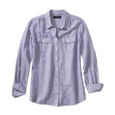 Banana Republic Women Factory Linen/Cotton Pocket Shirt ($33) ❤ liked on Polyvore featuring tops, long sleeve cotton shirts, long sleeve shirts, cotton linen shirts, linen tops and long-sleeve shirt