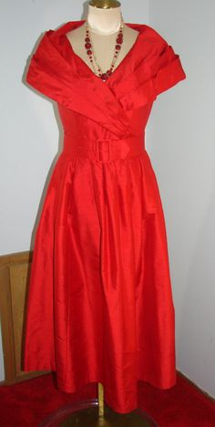 Vintage 80s Laura Ashley Red Silk Dress Cruise,Dance Party S 34 Bust Stunning by TheScarletMonkey on Etsy