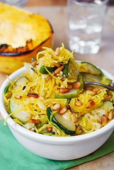 PARMESAN ZUCCHINI AND SPAGHETTI SQUASH WITH PINE NUTS http://juliasalbum.com/2014/09/zucchini-spaghetti-squash-with-pine-nuts/
