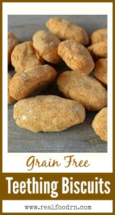 Grain Free Teething Biscuits. Starting babies on grains too early can be hard on their guts, because they don't make the enzymes necessary to digest them. Here is a grain free alternative to the traditional teething biscuits that you can make in your own kitchen! realfoodrn.com #grainfree #teethingbiscuits