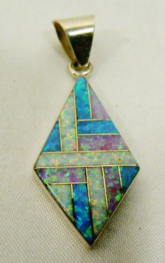STERLING SILVER 925 TRI-COLOR WHITE PINK BLUE OPAL INLAY  PENDANT #NA #Pendant