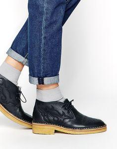 YMC Navy Leather Desert Boots