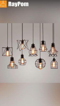 Cage Pendant Light, Pendant Lamp, Cage Light, Black Pendant Light, Wood Chandelier, Modern Chandelier, Industrial Light Fixtures, Industrial Lighting, Kitchen Lamps