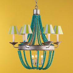 Semiprecious Beaded Basket Chandelier -  2 finishes! Love Love Love but without the shades