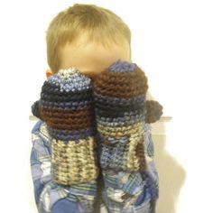 Warm crochet mittens childrens mittens with string by CrochetByMel
