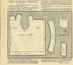 """PATRON ORIGINAL POUR LA POUPEE /"""" BLEUETTE MANTEAU DE VELOURS   MARS 1927"""