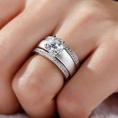 Jeulia 3PC Round Cut Created White Sapphire Wedding Set 1.72CT- Jeulia Jewelry