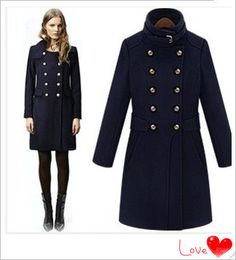 New 2014 Winter England Style Women Wool Coats Desigual Double Breasted Navy Blue Female Overcoat Long Pea Coats S XL-in Wool & Blends from Women's Clothing & Accessories on Aliexpress.com | Alibaba Group