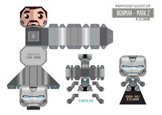 Blog Pape Toy papertoys IronMan3 Gus Santome Mark2 template preview Iron Man 3   Mark 1,2,3,4,5,6,7,17,35,38