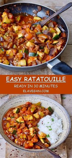 This easy Ratatouille recipe can be made in about 30 minutes. It's low-carb, ket. - This easy Ratatouille recipe can be made in about 30 minutes. It's low-carb, keto, vegan, gluten- - Vegetarian Recipes Dinner, Vegan Dinners, Healthy Dinner Recipes, Vegan Recipes Aubergine, Recipes With Eggplant And Zucchini, Vegetarian Eggplant Recipes, Healthy Stew Recipes, Fried Eggplant Recipes, Vegan Recipes