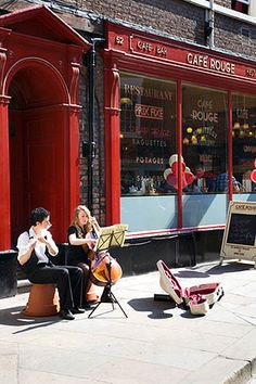 Buskers in Petergate York Yorkshire