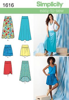 Simplicity Patterns S1616 Misses' Knit or Woven Yoked Skirts. Knit A, B, C are flared in maxi length or with hi-low hem or straight in knee length with ruching. Woven D, E with bias cut yoke and elastic waist are gathered in maxi or above knee length.