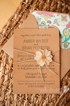 Simple rustic elegant inspired printable wedding invitation printed on kraft paper and tied with twine and burlap flower. Perfect for outdoor or barn wedding! jubeelee art on etsy