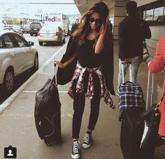 Devin Brugman- all black everything, black high tops, plaid