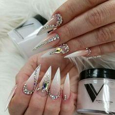 summer nails acrylic nails nails fall nails winter nails spring coffin nails gel nails natural nails short nails cute na Nail Swag, Rhinestone Nails, Bling Nails, Pointy Nails, Gel Nails, Coffin Nails, Halloween Nail Designs, Halloween Nails, Winter Nails