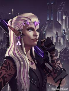 Cyberpunk: Zelda by andrecastelo on DeviantArt Alien Character, Character Concept, Character Art, Character Ideas, Concept Art, Cyberpunk Games, Cyberpunk Art, Warhammer 40k, Steampunk