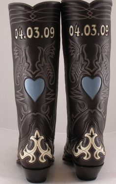 custom wedding boots. initials on front, wedding date on back! how cute!