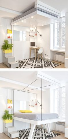 French design workshop Atelier Décadrages, designed the BedUP, a space-saving design where the bed is raised to the ceiling to provide more space in the room when not in use.