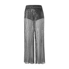 Silver sheer pleated palazzo trousers ❤ liked on Polyvore featuring pants, sheer palazzo pants, high waisted wide leg pants, pleated pants, high-waisted wide leg pants and high-waisted palazzo pants