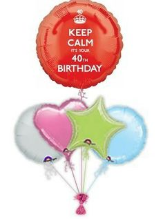 """""""Keep Calm It's Your Birthday"""" Is a great way to celebrate that special with fabulous birthday balloon bouquet. Helium filled birthdays balloons in a box delivered by free balloon delivery Birthday Balloon Delivery, 40th Birthday Balloons, Balloon Bouquet, Keep Calm, Birthdays, 18th, Anniversaries, Stay Calm, Relax"""