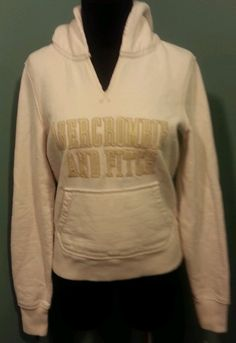 Abercrombie & Fitch Cream Tan Cotton Pullover Hooded Hoodie Sweat Jacket Size M $23 Free Shipping