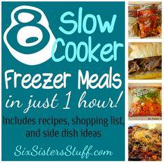 Six Sisters' Stuff: Slow Cooker Freezer Meals: Make 8 Meals in 1 Hour! Six Sisters' Stuff: Slow Cooker Freezer Meals: Make 8 Meals in 1 Hour! Slow Cooker Freezer Meals, Make Ahead Freezer Meals, Crock Pot Freezer, Crock Pot Slow Cooker, Crock Pot Cooking, Slow Cooker Recipes, Freezer Cooking, Freezer Recipes, Crockpot Meals