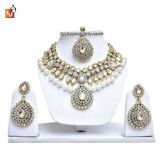 Planning to attend #wedding party but confused in #necklace set selection. Try this stunning White Kundan Necklace Set Designer Party Wear With Mang Tika. Order it now online from #LuckyJewellery  at Rs. 956/- This #monsoon season look beautiful with this designer necklace set. #jewelry #fashion #style #ethnic http://ift.tt/2axbYwH