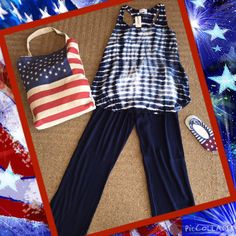 #OOTD: Celebrating the 4th of July with this #AllenAllen ensemble. Navy gauze pant, tie-dye tank, patriotic tote and socks! #shopfayes #shoplocal