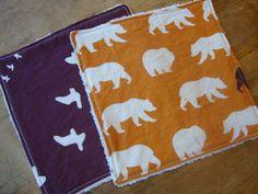 Set of 2 Organic Baby Washcloths in Camp Modern Bear by TajandMe, $6.75