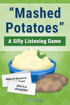 "Helping your child build listening comprehension skills doesn't have to be boring! ""Mashed Potatoes"" is a silly listening game that promotes listening comprehension AND giggles! Listening Activities For Kids, Listening Games, Activities For Teens, Active Listening, Preschool Games, Listening Skills, Listening And Following Directions, Following Directions Activities, Reading Comprehension Games"