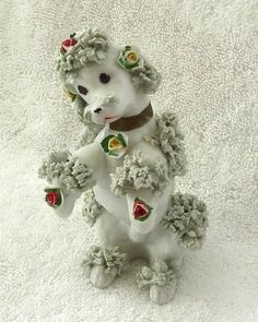 Vintage Spaghetti Poodle Dog Figurine with Roses