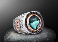 Personalized Silver Men Ring With Individual 10k GOLD Initials all sizes Abalone shell  #mensring #Personalizedring