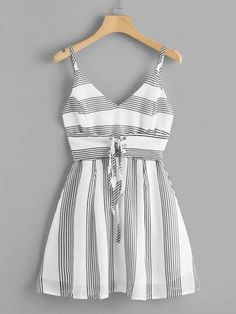 Shop Eyelet Lace Up Striped Cami Dress online. ROMWE offers Eyelet Lace Up Striped Cami Dress & more to fit your fashionable Ideas For Dress Cortos RayasShop [good_name] at ROMWE, discover more fashion styles online. Girls Fashion Clothes, Teen Fashion Outfits, Mode Outfits, Outfits For Teens, Dress Outfits, Girl Fashion, Girl Outfits, Fashion Dresses, Fasion