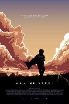 Design / Here´s my illustrated poster for Man of Steel. Take a closer look at the clouds and you might see something more