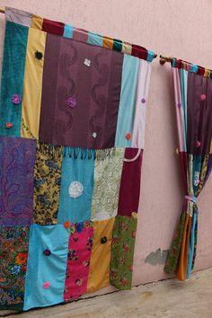 Hippie Curtain Boho Curtain Panels Scarf Curtain Large