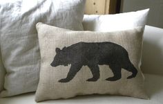 Burlap bear pillow cushion Christmas winter or boys room - Etsy Front Page item. $24.50, via Etsy.
