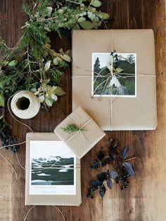Gift wrap idea: flea mkt photos, hemp twine & rosemary // Artifact Uprising
