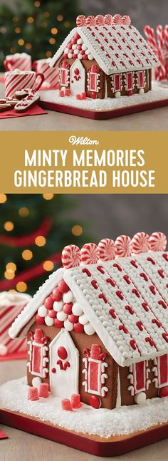 Minty Memories Gingerbread House - One look and you won't be able to wait to decorate this chocolate cookie house kit, bright with visions of peppermint colors and candy. Sharing the activity of decorating this house together makes the entire family merry!