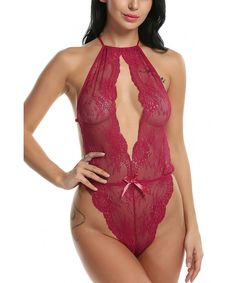 3b3addd7c Women One Piece Sexy Babydoll Lingerie Teddy Deep V Halter Lace Bodysuit -  Wine Red -