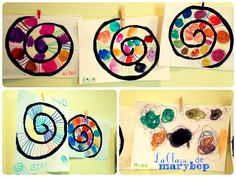 Risultati immagini per art graphique maternelle School Age Activities, Craft Activities For Kids, Math Activities, Kindergarten Art Lessons, Preschool Kindergarten, Spiral Art, Diy And Crafts, Arts And Crafts, Dot Day