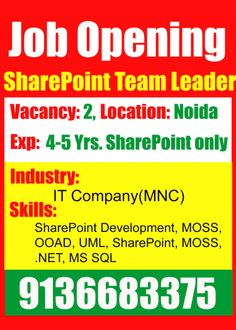 Urgent Requirement for SharePoint Team leader