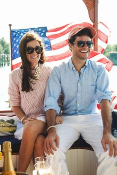 Co-founders of nautical bracelet company KJP, Kiel James Patrick and Sarah Vickers effortlessly embody the contemporary prep couple. Here the recently engaged duo relaxes on a yacht, July 2014.