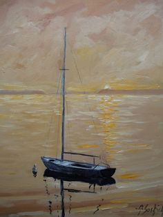 Lone Sailboat 8 x 10 original oil by Anthony by SoskichbytheBay, $150.00