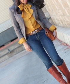 Ferragamo gancini reversible belt, mustard bow blouse, elbow patch houndstooth blazer, Halogen Brianna Cognac boots, Old Navy petite rockstar jeans, fall outfit, winter outfit, business casual, petite fashion blog - click the photo for outfit details!