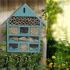 WOODEN LARGE BLUE INSECT BUGS GARDEN HANGING HOTEL HOME BEES LADYBIRD NEST BOX HOUSE: Amazon.co.uk: Pet Supplies